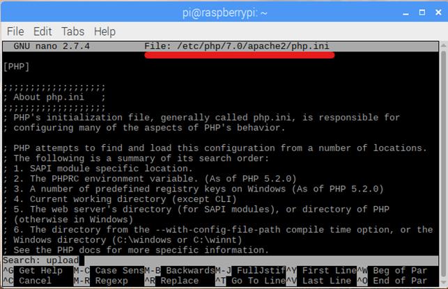 php web server cho Rasberry